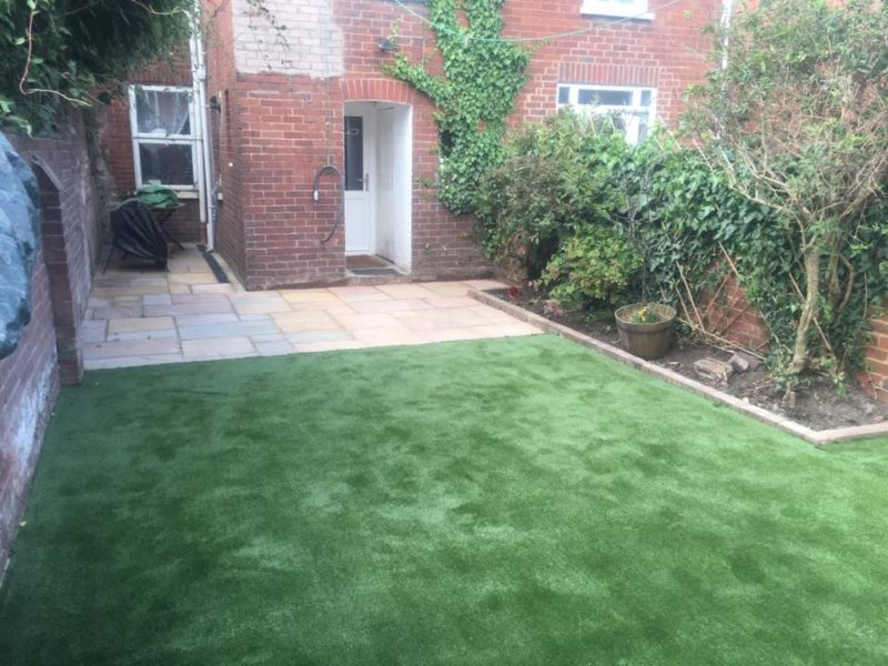 New Installed Space Grass and Garden Paving