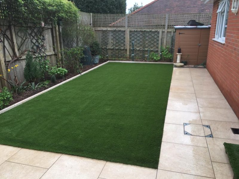 Newly Laid Artificial Grass and Garden Paving