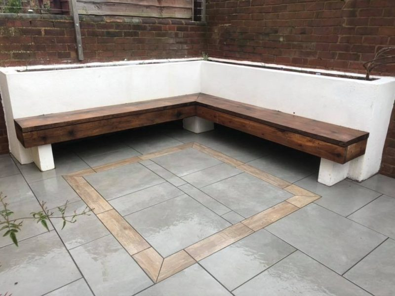Bespoke Slab Garden Paving and Bench